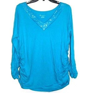 Lane Bryant Turquoise Blue Sequin Ruched Shirt